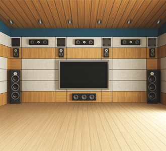 Theater Room With Surround Sounds